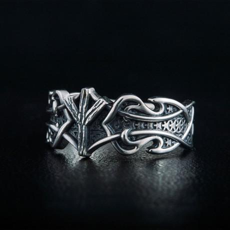 Norse Algiz Rune Ring // Silver (6)