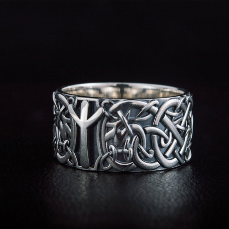 Algiz Rune Norse Ring // Silver (6)