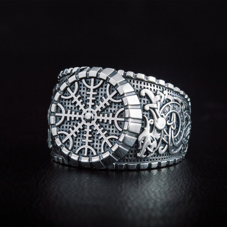 Helm of Awe Symbol Ring V.1 // Silver (6)