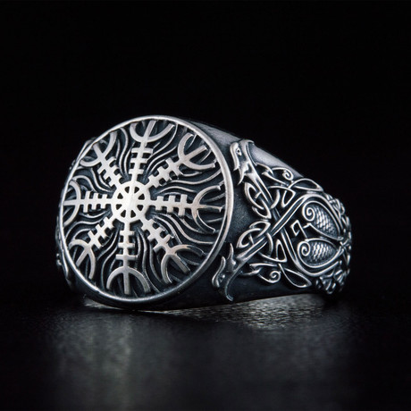 Helm of Awe Symbol + Norse Ring V. 1 // Silver (6)