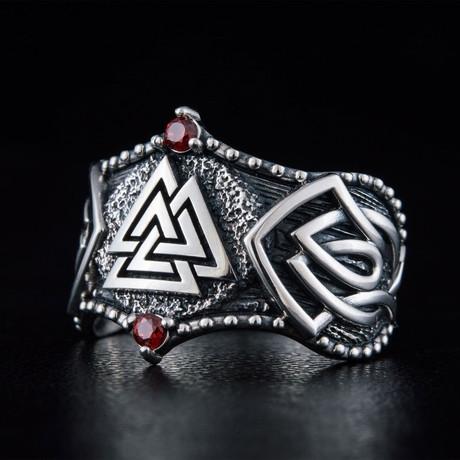 Norse Valknut Symbol Ring // Silver + Red (6)