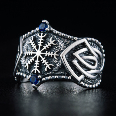 Helm of Awe Symbol + Norse Ring V.2 // Silver (6)