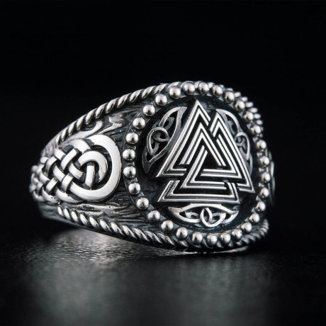 Norse Valknut Ring // Silver (6)