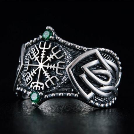 Norse Vegvisir Symbol Ring // Silver + Emerald (6)