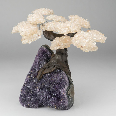 Custom Genuine White Quartz Clustered Gemstone Tree on Amethyst Matrix (The Energy Tree)