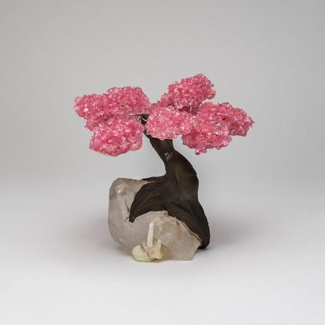 The Tree of Light // Rose Quartz Tree + Quartz Crystal // Medium