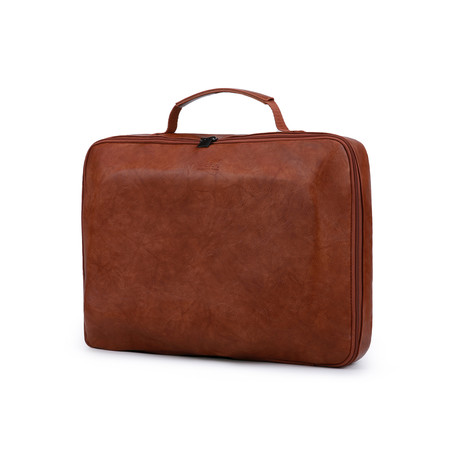 Eco-Leather Laptop Notebook Sleeve + Travel Electronics Bag // Brown + Gray