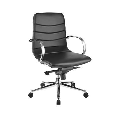 Samantha Office Chair // Black Pu-Leather + Chrome Plated Base