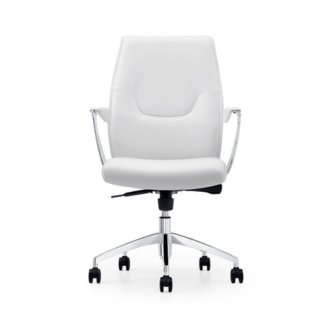 Adalynn Office Chair // Leather + Chrome Plated Base (Black Leather)