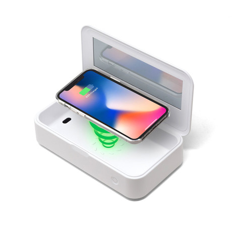 CleanTray™ Charge Wireless Charging UV Light Sterilizer // White