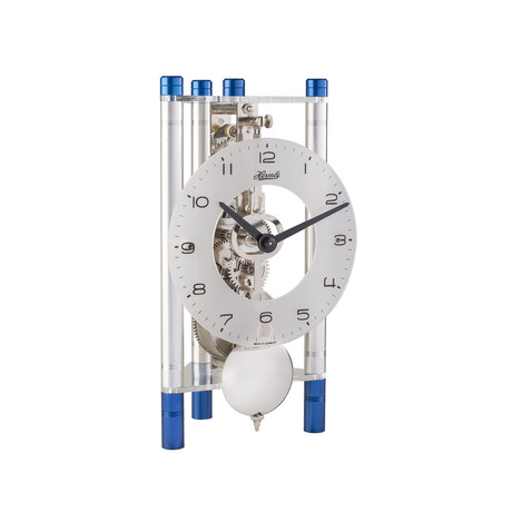 Lakin // Glass Dial + Arabic Numerals (Silver-Blue + Silver Pendulum)