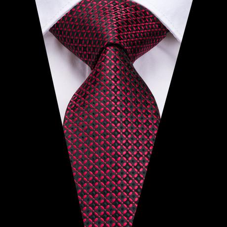 Benji Handmade Silk Tie // Black + Red