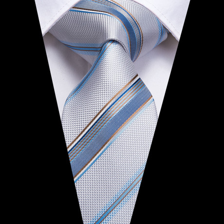 Parker Handmade Silk Tie // Silver + Light Blue