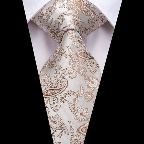 Hugh Handmade Silk Tie // Cream + Tan