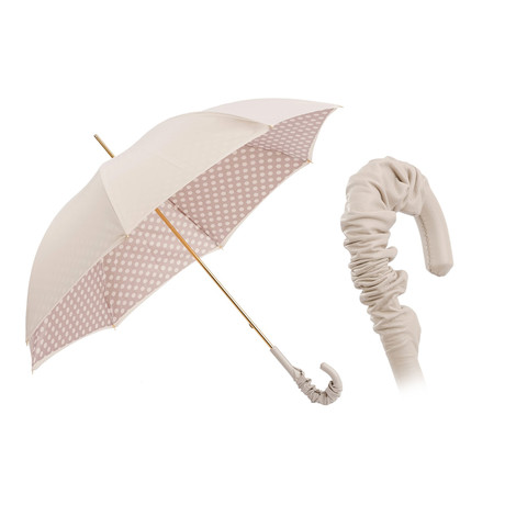 Double Fabric Polka Dots Umbrella // Ivory