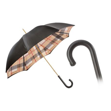 Tartan Lined Umbrella + Leather Handle // Black
