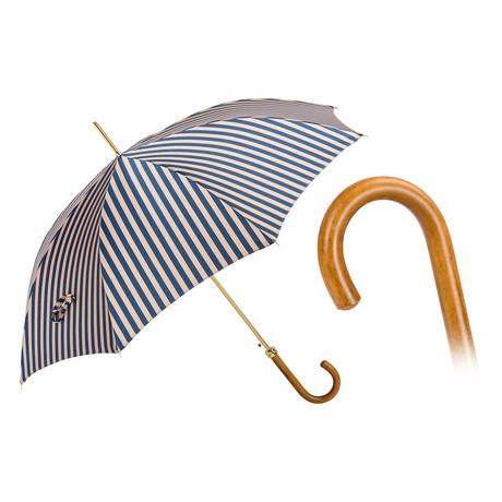 Malacca Wood Striped Umbrella // Beige + Blue