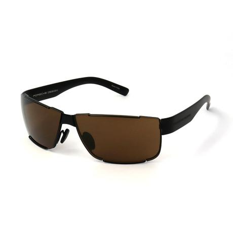 Men's P8509 Sunglasses // Black + Brown