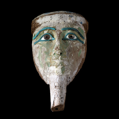 Original Egyptian Wooden Mask With Rock Crystal Eyes + Bronze Eyelids/Eyebrows // Egypt , Late Period Ca. 711-­332 BC