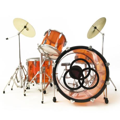 John Bonham // Led Zeppelin Mini Drum Set Model // Amber Vistalite