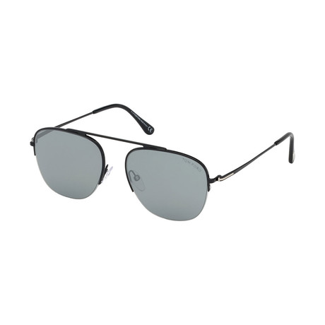 Men's' Abott Sunglasses // Shiny Black + Silver Mirror
