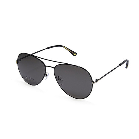 Unisex Aviator Polarized Sunglasses // Shiny Black + Gray