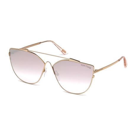 Women's Jacquelyn Sunglasses // Gold + Pink Gradient