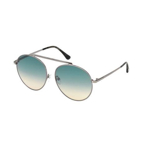 Women's Simone Sunglasses // Shiny Light Ruthenium + Blue Gradient