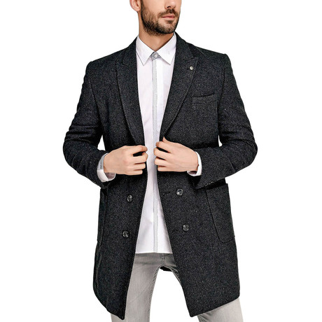 Cortland Overcoat // Patterned Anthracite (Small)