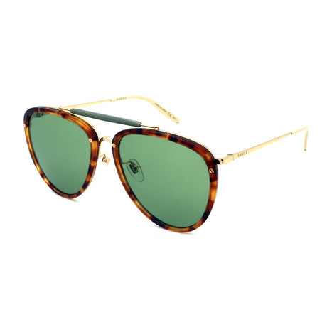 Men's GG0672S-003 Pilot Sunglasses // Havana + Gold + Green