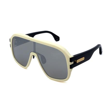Men's GG0663S-004 Irregular Sunglasses // Ivory + Black
