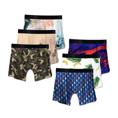 Men's Boxer Briefs // Bananas + Art Deco + Lalaland + Camo + Color Swirls + Nebula // 6-Pack (M)