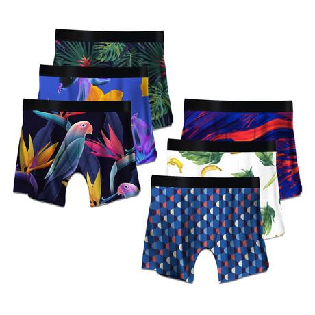 Men's Boxer Briefs // Tropical + Bananas + Parrots + Art Deco + Color Swirls + Psychedelic // 6-Pack (M)