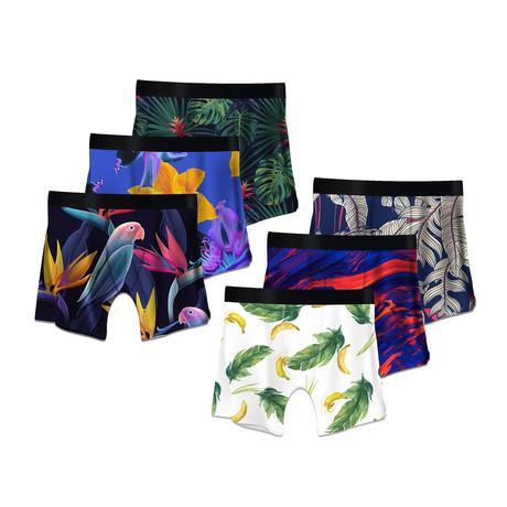 Men's Boxer Briefs // Tropical + Bananas + Parrots + Psychedelic + Ficus + Color Swirls // 6-Pack (M)