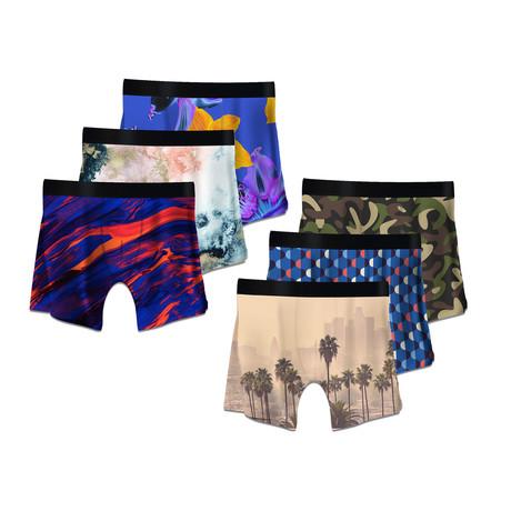Men's Boxer Briefs // Art Deco + Color Swirls + Psychedelic + Camo + Lalaland + Nebula // 6-Pack (M)