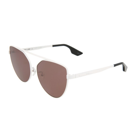 Women's MQ0075S Cat Eye Sunglasses // White + Brown
