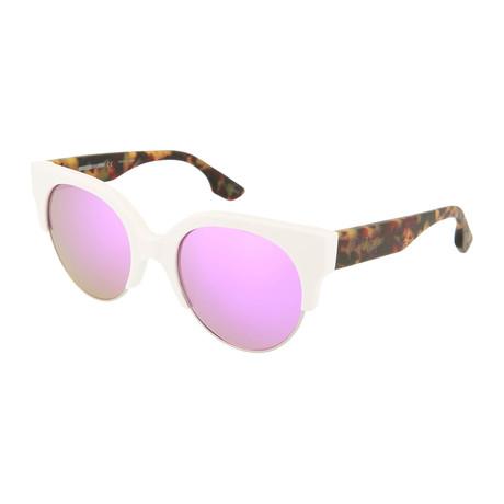 Women's MQ0048S Round Sunglasses // White + Havana + Pink