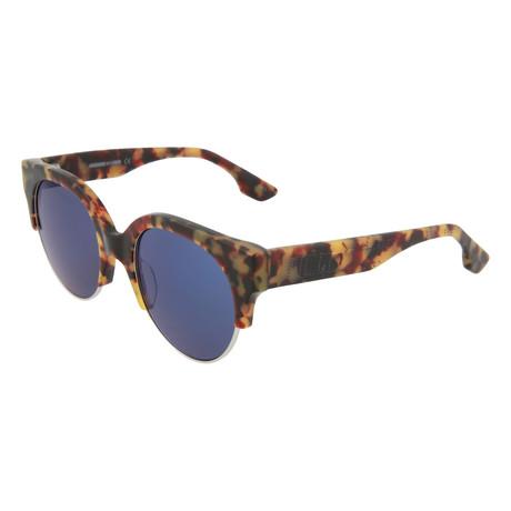 Women's MQ0048S Round Sunglasses // Havana + Blue