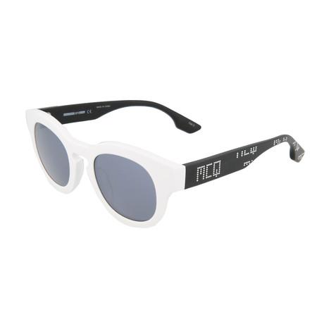 Unisex MQ0047S Round Sunglasses // White + Black + Silver