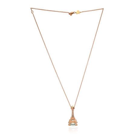 Pasquale Bruni Eiffel 18k Rose Gold Diamond + Green Quartz Necklace // Store Display