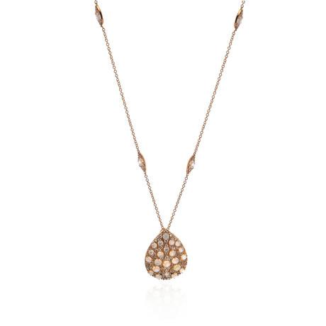 Pasquale Bruni Mandala Mop 18k Rose Gold Diamond + Ruby Necklace // Store Display
