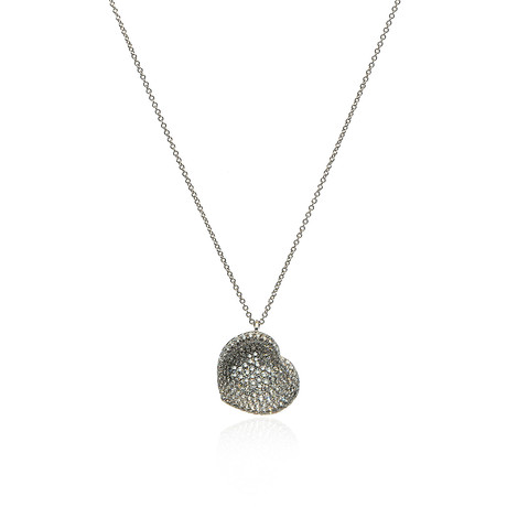 Pasquale Bruni In Love 18k White Gold Diamond + Sapphire Necklace I // Store Display