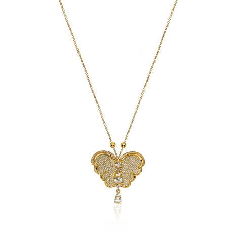 Pasquale Bruni Liberty 18k Yellow Gold Diamond + White Topaz Necklace // Store Display
