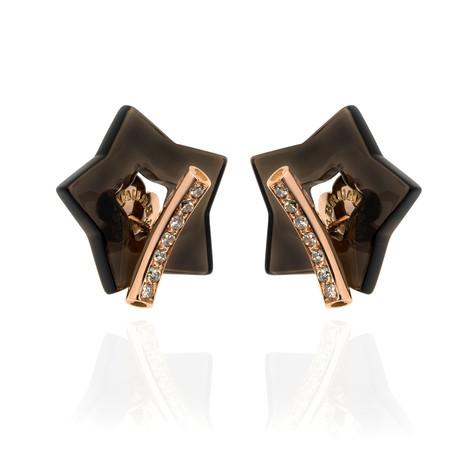 Pasquale Bruni Make Love Rose Gold Diamond + Smoky Quartz Earrings // Store Display