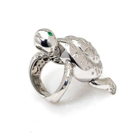 Pasquale Bruni Animalier 18k White Gold Diamond + Emerald Ring // Ring Size: 6 // Store Display