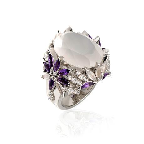 Pasquale Bruni Ghirlanda 18k White Gold Diamond + White Quartz Ring // Ring Size: 6.5 // Store Display