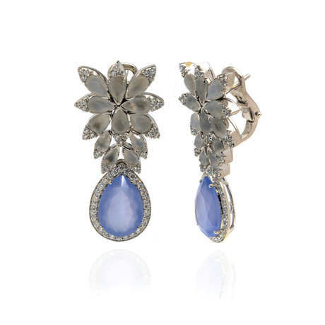 Pasquale Bruni Ghirlanda 18k White Gold Diamond + Adularia Earrings II // Store Display