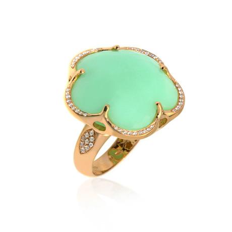 Pasquale Bruni Bon Ton 18k Rose Gold Diamond + Chrysoprase Ring // Store Display (Ring Size: 6.25)