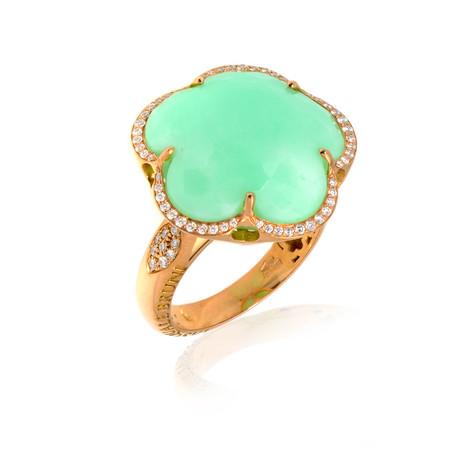 Pasquale Bruni 18k Rose Gold Diamond + Chrysoprase Ring // Ring Size: 7 // Store Display