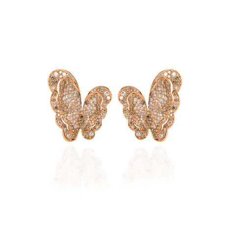Pasquale Bruni Liberty 18k Rose Gold Diamond Earrings // Store Display
